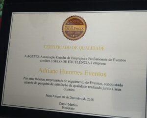 Adriane Hummes Eventos recebe Selo de Excelência AGEPES